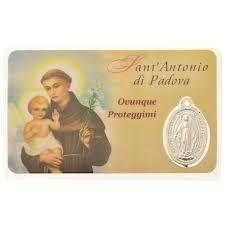 Card medaglia Sant'Antonio di Padova (10 pezzi), in plastica ...