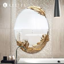oval wall mirror bathroom resin flowers