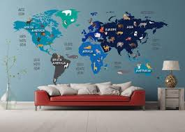 Colorful Animal World Map Decal Clear Vinyl Decal Kids Room Decals Walls2lifedecals