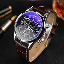 luxury leather strap wrist watch for