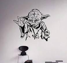 Amazon Com Jedi Master Yoda Wall Vinyl Decal Star Wars Wall Sticker Home Interior Living Room Bedroom Decor Removable Custom Sticke Home Kitchen