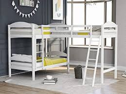 Amazon Com Saygogo Twin L Shaped Bunk Bed And Loft Bed For Kids With Length Guardrail Solid Pine Wood Bed 3 Platform Loft Bed For Home White Kitchen Dining