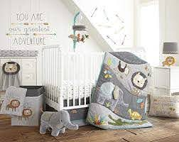 Amazon Com Levtex Baby Zambezi 5 Piece Crib Bedding Set Quilt 100 Cotton Crib Fitted Sheet 3 Tiered Dust Ruffle Diaper Stacker And Large Wall Decals Baby