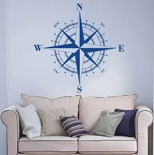 Compass Rose Wall Decal Art Decor Sticker Vinyl Nautical Compass Decal Compass Rose Decal Compass Decor Compass Wall Art Compass Sticker Wish