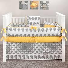 elephant grey and yellow crib bedding