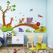 Wall Sticker Kids Bedroom Cartoon Jungle Animals Bridge Pvc Wall Stickers Large Size Sticker Children Bedroom Nursery Decoration Wall Decal Cheap Wall Decal Deals From Qiqihaercc 42 46 Dhgate Com