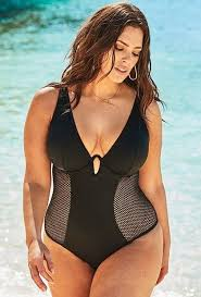 Ashley Graham and her sister, Abigail, pose for a swim campaign