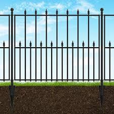 Vigoro Empire 30 In X 36 In Black Steel 3 Rail Fence Panel 860190 The Home Depot