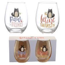 Set Of 2 Glass Tumblers Feline Fine Cat Decal Bonni Gifts