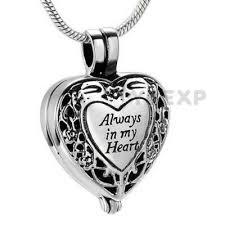 always in my heart locket urn necklace