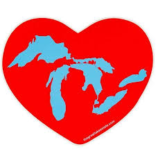 Great Lakes State Sticker Michigan Great Lakes Heart Sticker Mitten Crate