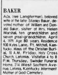 Obituary for Ada BAKER (Aged 80) - Newspapers.com