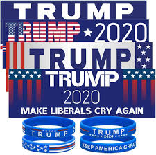 Amazon Com Super Waterproof Trump Car Decal Keep America Great Elect President Donald Trump 2020 Election Patriotic Reflective Bumper Sticker With Silicone Bracelets Wristbands 8 Pack Arts Crafts Sewing