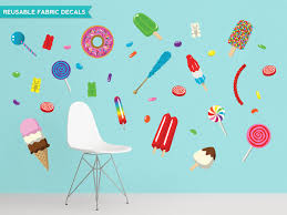 Candy Fabric Wall Decals With Lollipops Posicles Donuts And More Contemporary Wall Decals By Sunny Decals