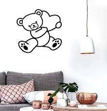 Wall Stickers Vinyl Decal Teddy Bear Love Heart Decor For Bedroom Uniq Wallstickers4you