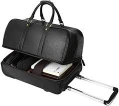 leather luggage wheeled duffle