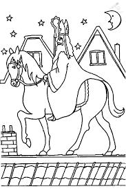 Kleurplaat Sinterklaas Sint Sinterklaas Loopt Op Het Dak