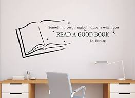 Amazon Com Bestdecalsusa Read A Good Book Wall Quotes J K Rowling Vinyl Decal Sticker School Library Home Art Decor Removable Interior 10qts Home Kitchen