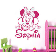 Personalized Name Wall Decal Mickey Mouse Decals Room Girls Nursery Decor Dr88 Ebay