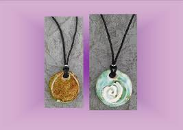 clay aromatherapy necklace green moss