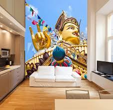 Golden Buddha Sculpture In Tibetan Monastery Wall Mural Wallpaper Murals Perfectlazybones