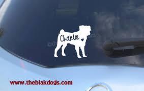 Pug Silhouette Vinyl Sticker Personalized Car Decal Blakdogs Vinyl Designs
