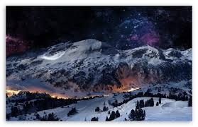 night sky snow ultra hd desktop