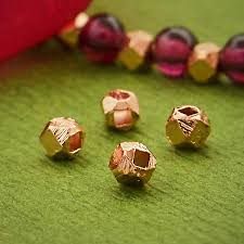 faceted er beads with 18k rose gold