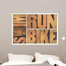 Run Bike Swim Triathlon Wall Decal Wallmonkeys Com