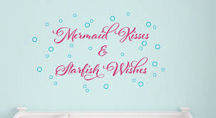 Mermaid Wall Decal Set Mermaid Kisses Starfish Wishes Ocean Wall Decal Nautical Nursery Girls Wall Decals Sea Wall Art Tweet Heart Home Design