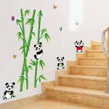 Removable Cute Little Panda Bamboo Wall Stickers Bedroom Living Room Tv Wall Decoration Chinese Self Adhesive