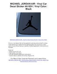 Michael Jordan Air Vinyl Car Decal Sticker A1624 Vin 5 Star Review