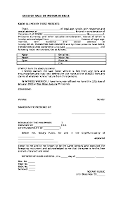 deed of of motor vehicle template