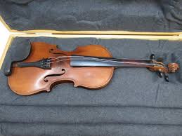 violin with homemade wooden case