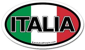 Italia Italy In Italian And Italian Flag Car Bumper Sticker Oval Lands People