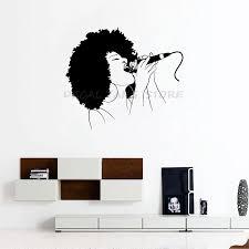 Afro Girl Singing Vinyl Wall Sticker Decals Girls Room Design Pattern Music Melody Mural Decal Home Wall Art Decor 1395 Wall Stickers Aliexpress