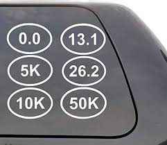 Amazon Com Elegantdecal Running Distance Vinyl Decal 0 0 5k 10k 13 1 Half Marathon 26 2 Full Marathon 50k Ultra Marathon Options Wall Window Door Car Truck Home Kitchen