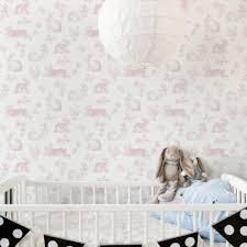 Bunny Toile Pink Ki0582 Wallpaper