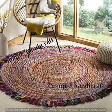 round jute cotton rug boho floor dhurie