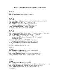 algebra 1 homework assignments
