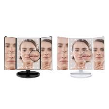 trifold led lighted makeup mirror