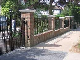 Brick Wall And Iron Gate Google Search Backyard Fences Brick Fence Modern Fence