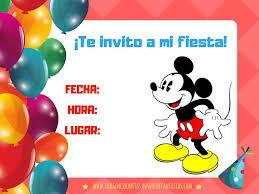Invitaciones De Mickey Mouse Cumpleanos Y Fiestas Infantiles