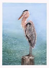 Grand Heron Painting by Hilda Wagner