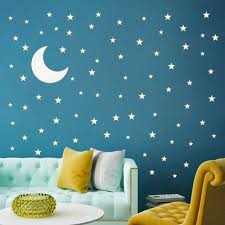 Moon And Stickers Stars Wall Decal Vinyl For Kids Boy Girls Baby Room Decoration For Sale Online Ebay