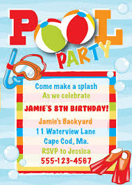 Pool Party Birthday Invitation Boy Celebrar Cumpleanos Ninos