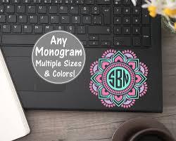 Mandala Monogram Laptop Decal Mandala Laptop Sticker Mandala Etsy Mandala Monograms Laptop Monogram Laptop Decal
