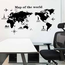 Map Of The World Wall Stickers Diy Vinyl Wall Decals For Kids Room Maps Wallpapers Home Decor Black World Maps Home Decoration Wall Stickers Aliexpress