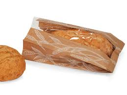 natural kraft bread bag with wheat
