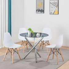 kitchen round glass dining table